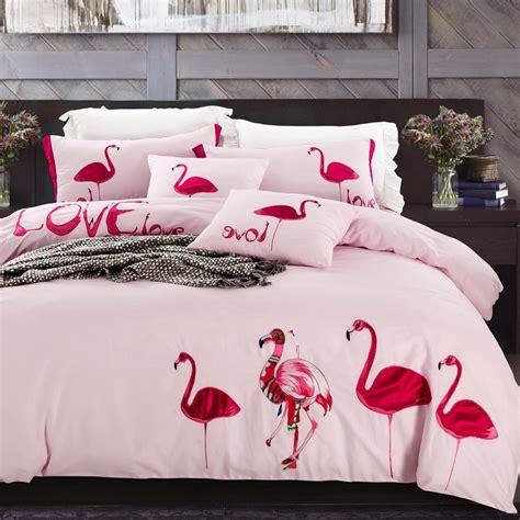 flamingo bedding sets flamingo embroidered duvet cover set