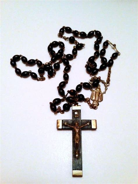 Accepting Etsy Gift Cards - vintage ebony wood silver miraculous mary pendant black rosary beads made in italy