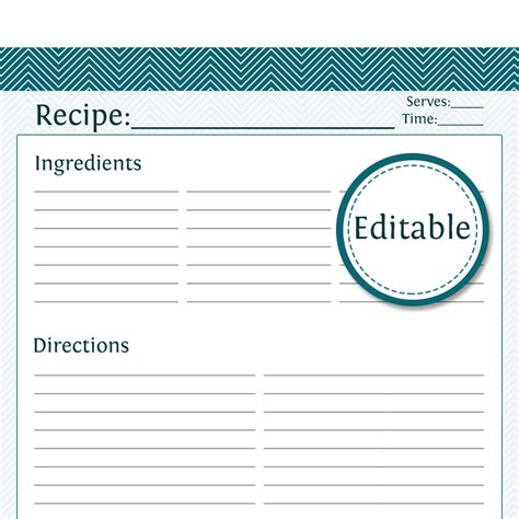 editable card template free recipe card page editable printable pdf by organizelife