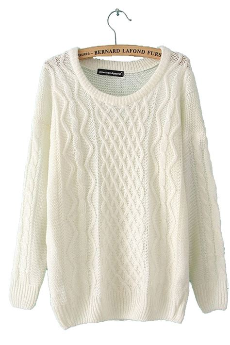 White Sweater cable knit pullover beige white sweaters sweater coats for