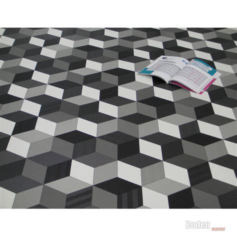 Pvc Boden Uni Weiss by Details Zu Pvc Cv Vinyl Bodenbelag Cube 3d W 252 Rfel Schwarz