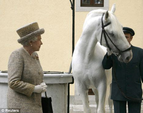 queen presented with rare lipizzaner horse during state