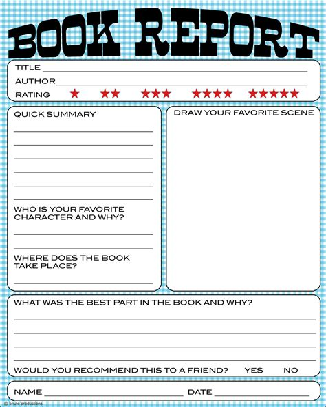 My Book Report Printable by Bnute Productions Free Printable Book Report Worksheet