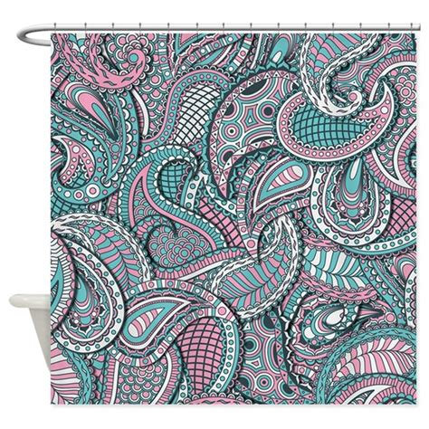 pink paisley curtains pink blue paisley pattern shower curtain by