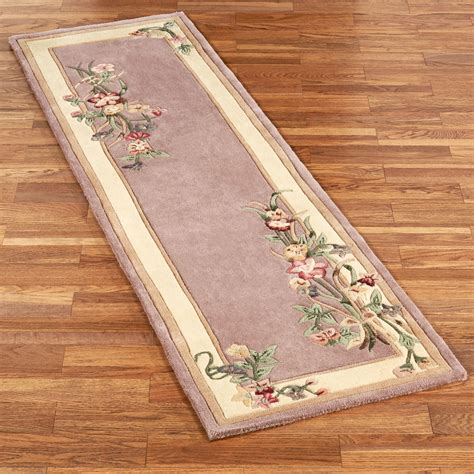 Mauve Runner Rug Floral Bouquet Dusty Mauve Rug Runner
