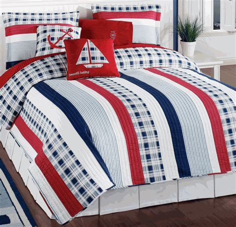 nautical themed bedding nautical red white blue stripe quilt set