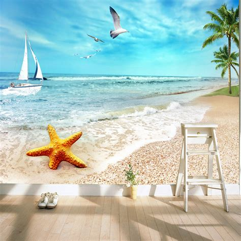 charming sunny beach wallpaper ocean wall murals custom