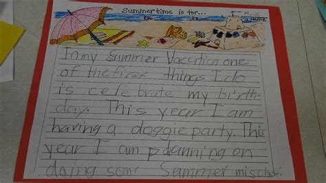 A Summer Vacation Essay by Patties Classroom Summer Vacation Writing