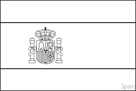 Spain Flag Template Colouring Book Of Flags Southern Europe