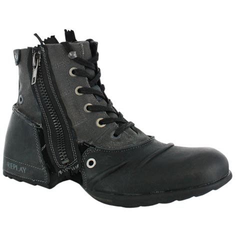 replay mens boots replay clutch black mens leather zip boots shoes ebay