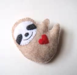 felt brooch cute sloth red heart love soft grey felt accessory