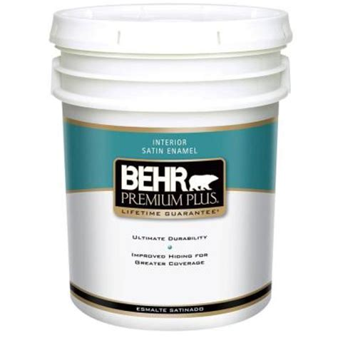 home depot 5 gallon interior paint behr premium plus 5 gal satin enamel interior paint