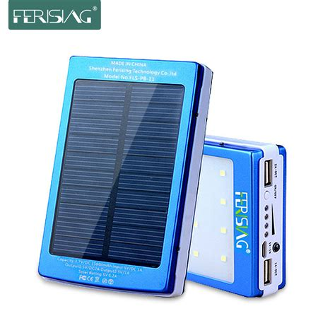 Power Bank Solar Asli solar power bank 15600mah dual usb battery portable led