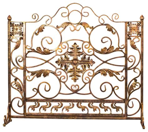 luxury bronze and gold custom iron fireplace screen