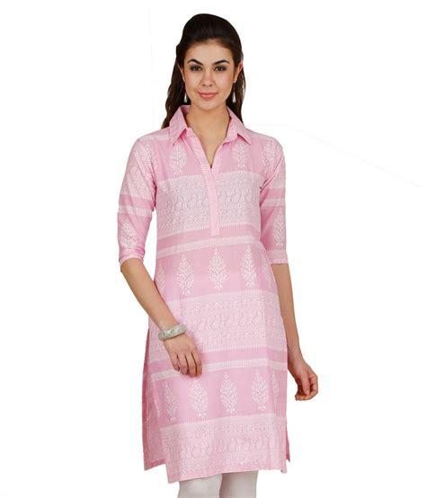 Kurti Pattern With Collar | d2nine collar pink printed pattern cotton kurti price in
