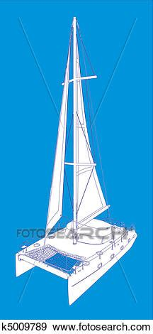 catamaran drawing clip art of catamaran boat drawing like paint k5009789