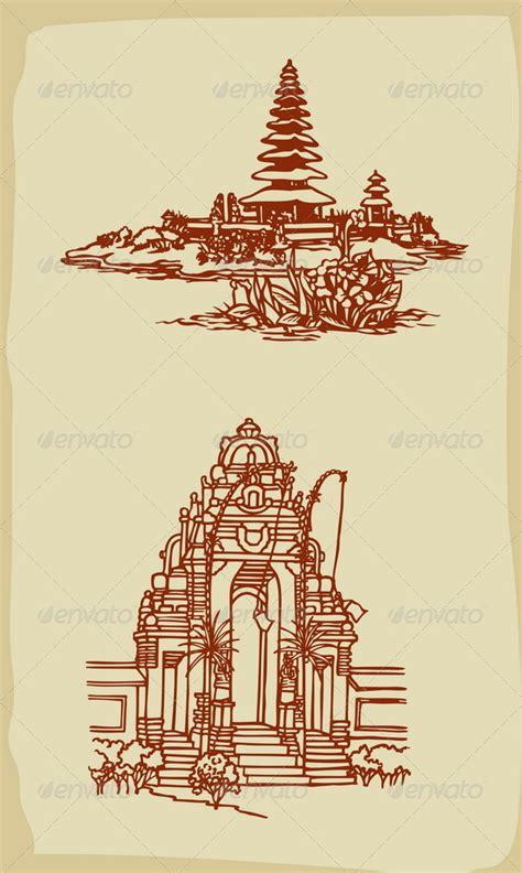 tattoo temple logo balinese temple illustrations vintage style balinese
