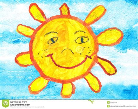 childs drawing   funny sun  blue sky stock