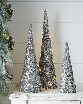 silver sparkling mesh beaded cone tree blush silver glitter cone trees