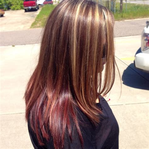 Blonde Highlight Red On Bottom | chunky blonde highlights with red at the bottom hair