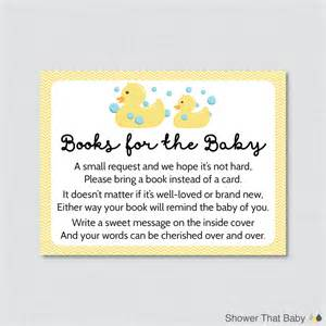 baby shower bring book instead of card rubber ducky baby shower printable bring a book instead of a