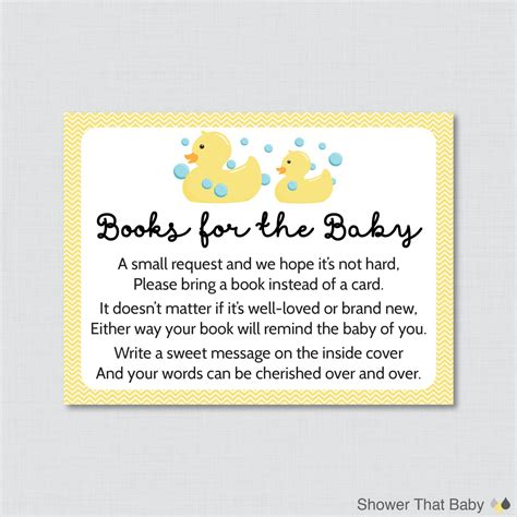 bring a book instead of a card babyshower free template rubber ducky baby shower printable bring a book instead of a