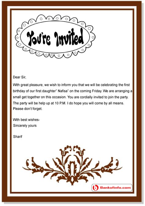 Exle Of Invitation Letter In Birthday Birthday Invitation Letter Sle