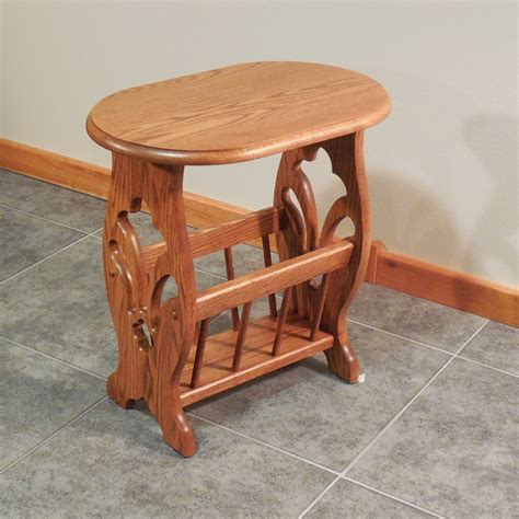 End Table With Attached L And Magazine Rack by Solid Oak Fluer Cut Country Style Magazine Rack End Table