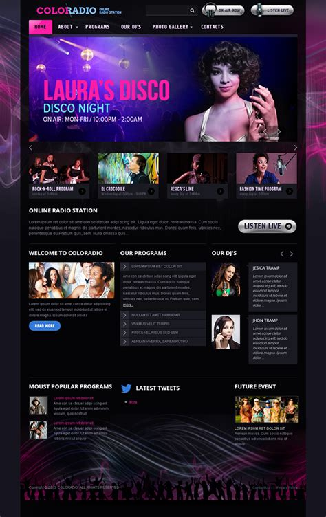 templates for radio website coloradio online radio station bootstrap html template on