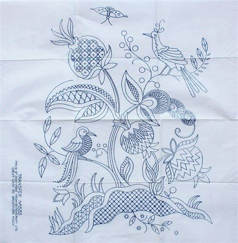 embroidery design transfer vintage stitchcraft ltd no 535 large jacobean bird design