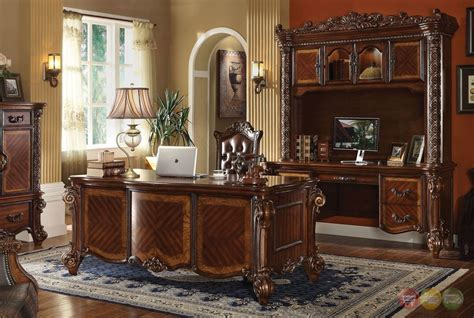 Ornate Executive Desk by Vendome Ornate Traditional Computer Desk Hutch In Brown