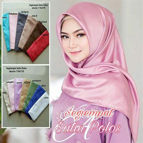 Segiempat Satin Velvet Jilbab Satin Kerudung Satin jilbab segi empat terbaru satin polos modis dan modern