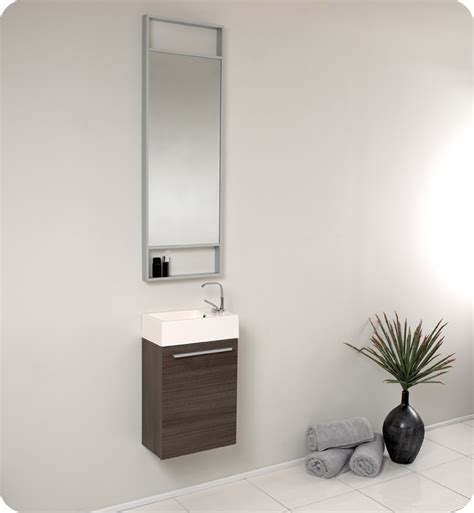 Small Bathroom Vanity Mirrors | fresca pulito small gray oak modern bathroom vanity w