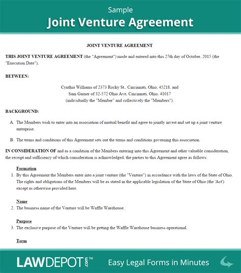 contractual joint venture agreement template joint venture agreement free joint venture forms us