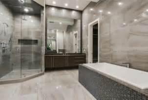 Modern master bathroom with drop in bathtub high ceiling undermount
