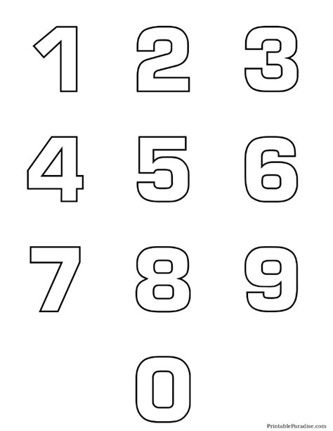 free printable outline fonts printable number outlines 0 9 on one page montessori and