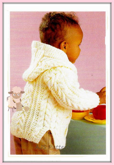pattern child s lab coat pdf knitting pattern babies childs hooded jacket or coat in