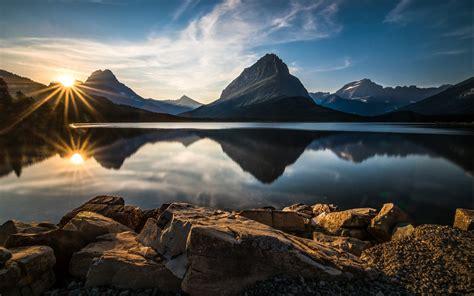 nature landscape glacier national park lake reflection