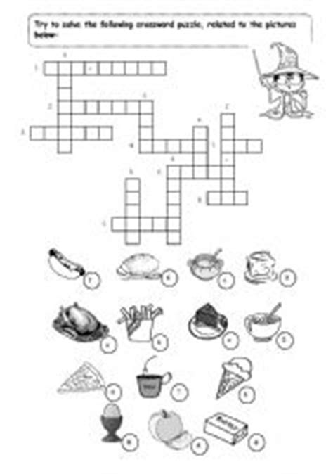 easy crossword puzzles about food english worksheets food crossword puzzle