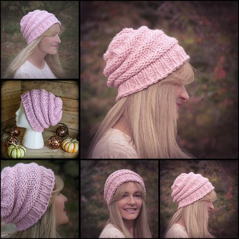 knit loom loom knit hat pattern slouch hat beanie textured bulky