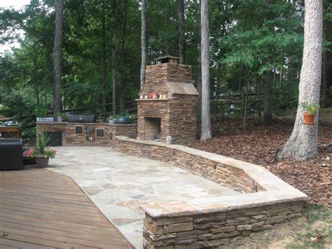 backyard flagstone outdoor firepit archadeck of charlotte