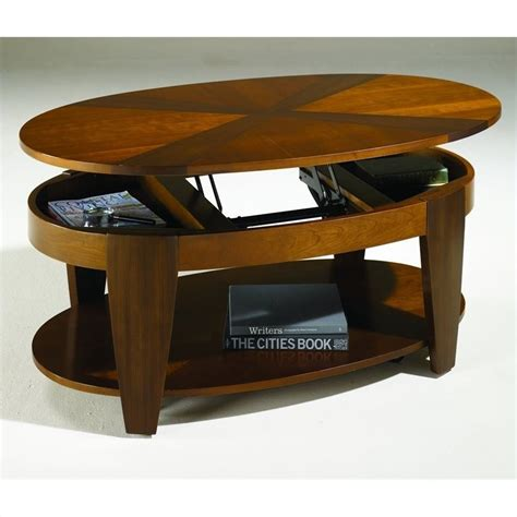 oval lift top coffee table oasis oval cocktail table w lift top in cherry walnut
