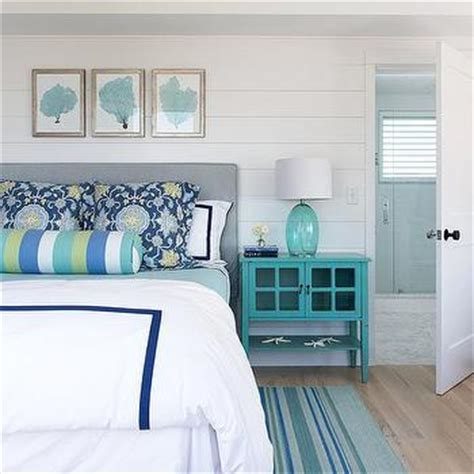 Turquoise Headboard by White And Blue Bedroom With Turquoise Sea Fan Gallery