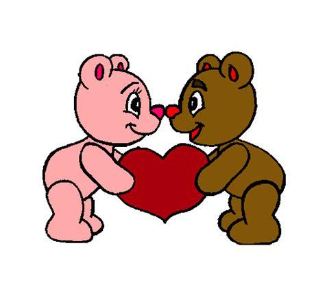 imagenes de amor para dibujar pintados dibujo de osos enamorados pintado por gualupe en dibujos
