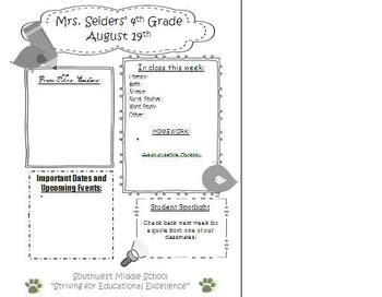 Parent Newsletter Template By Jaclyn Seiders Teachers Pay Teachers Parent Newsletter Template