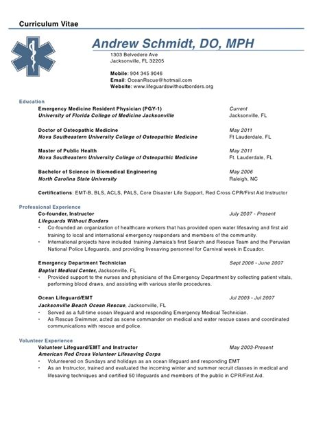 Residency Program Resume Curriculum Vitae Curriculum Vitae Physician