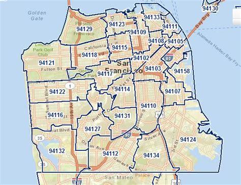 san francisco map with zip codes san francisco districts