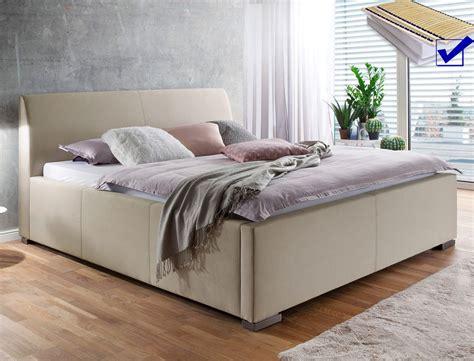 günstige betten mit matratze und lattenrost 180x200 polsterbett mit bettkasten larissa 180x200 beige