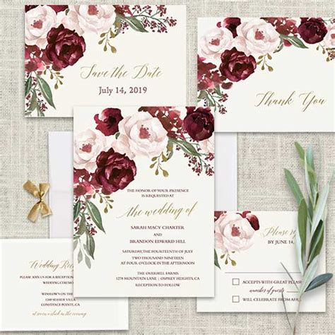 wine and gold template wedding invitation card sle fall wedding invitations burgundy wine gold blush floral