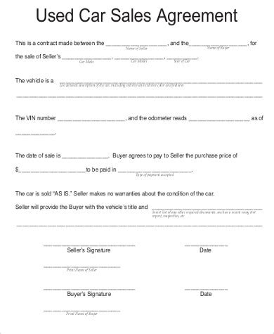 Agreement Letter To Buy A Car Sle Car Purchase Agreement 6 Exles In Word Pdf